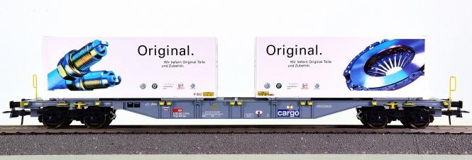 Roco 66657 - Containertragwagen Sgns der SBB, Lkw-Wechselbrücken Amag