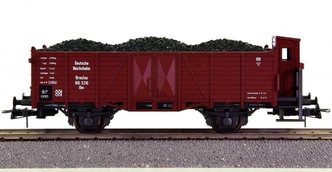 Roco 46280 - Offener Güterwagen mit Bremserhaus Om der DRG, beladen