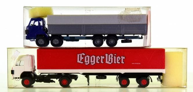 Roskopf – 2-tlg. LKW-Set, Sauer Sattelzug Egger Bier und Pritsche mit Plane