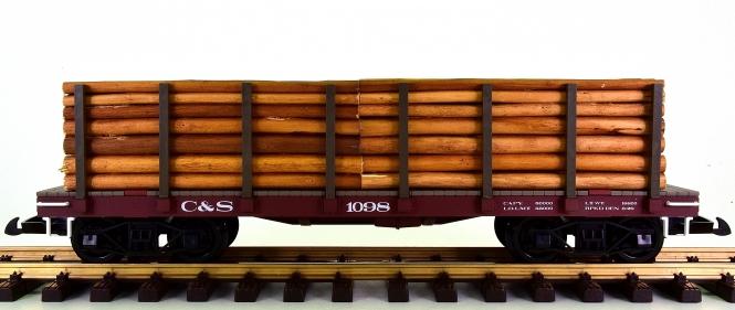 Piko 38745 (G/IIm) – Rungenwagen / Flatcar der C&S, Holzladung