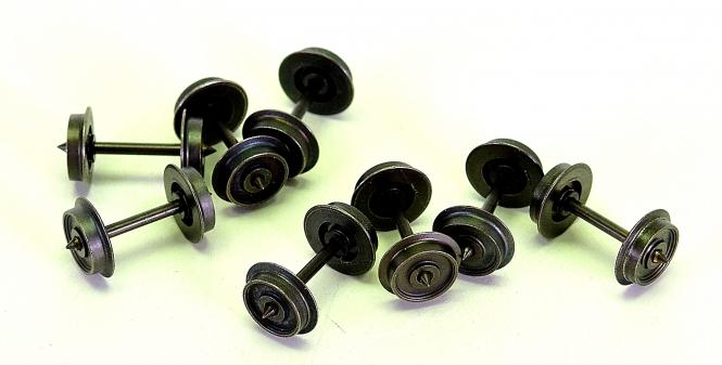 8 Stück 2-Leiter / Gleichstrom Radsatz 10,4 mm x 24,4 mm