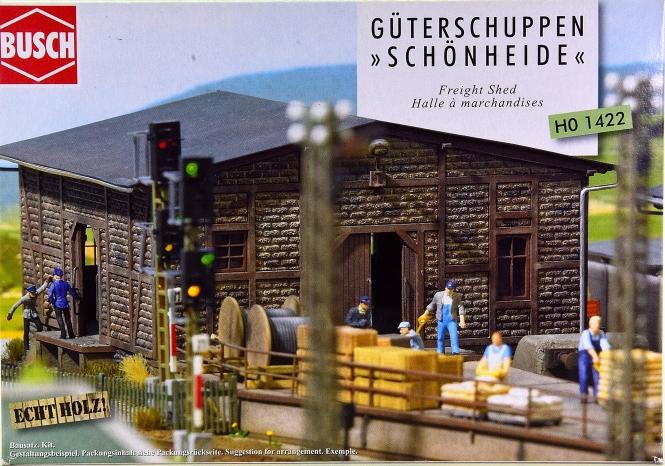 Busch 1422 – Bausatz Güterschuppen Schönheide, mit Echtholzteilen