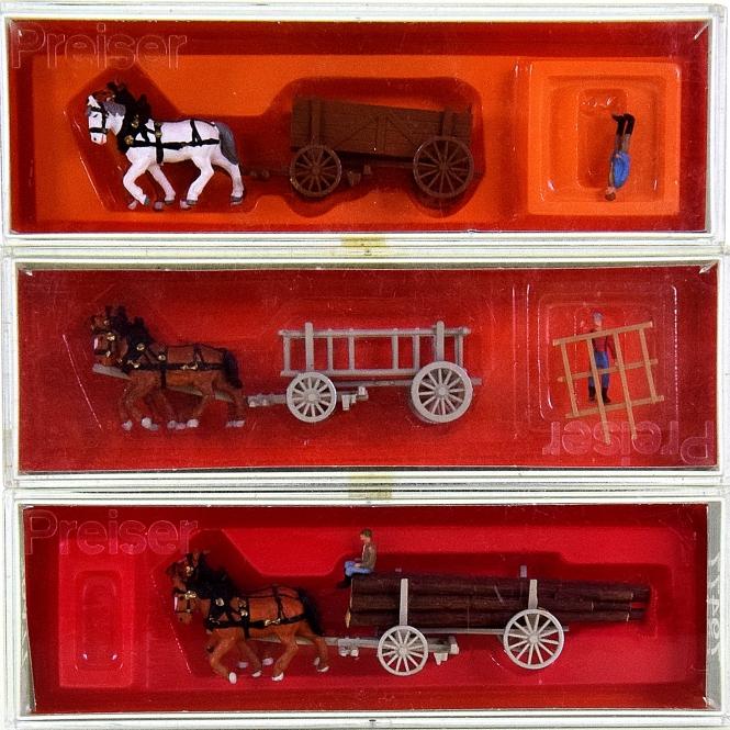 Preiser 79475/79476/79477 (N) - 3 verschiedene Pferdefuhrwerke
