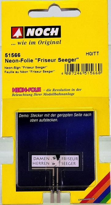 Noch 51566 (H0 / TT) – Neon-Folie -Friseur Seeger-