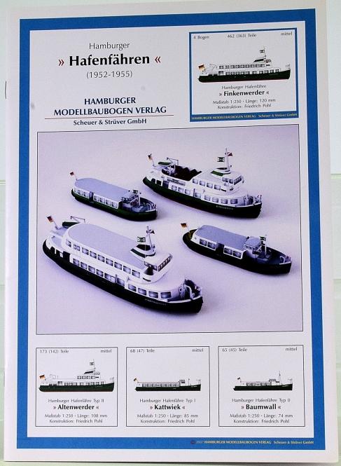 HMV 3324 (1:250) – Hamburger Hafenfähren (1952 – 1955), 4 Modelle