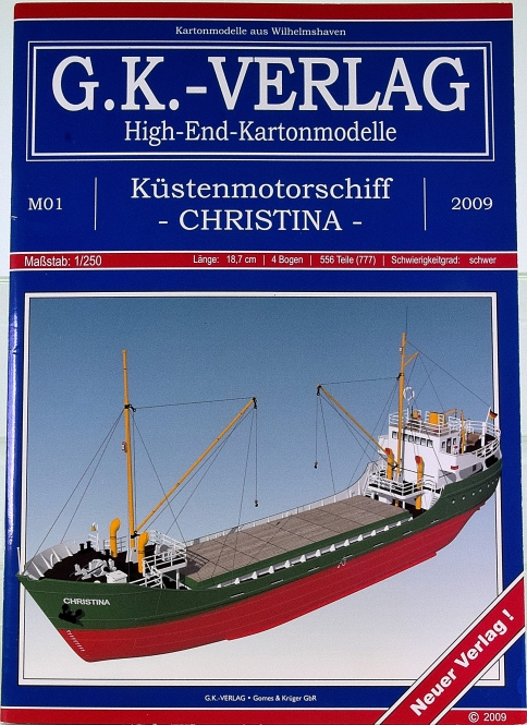 G.K. Verlag M1 (1:250) – Küstenmotorschiff Christina (1960) + Lasercut