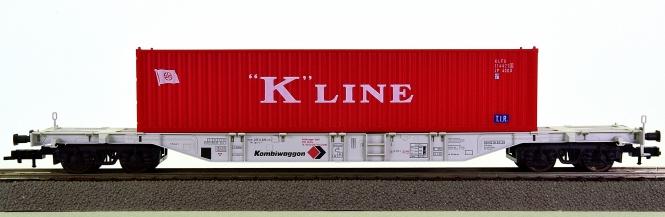 Fleischmann 5247 K (H0) – Container-Tragwagen der Kombiwaggon (DB AG), beladen