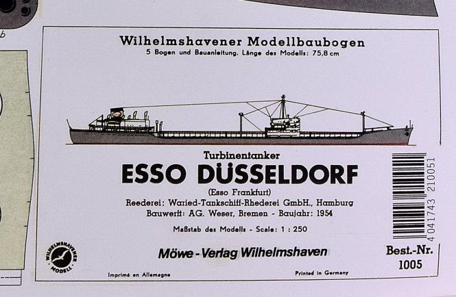 WHV Modellbaubogen 1005 (1:250) – Turbinentanker ESSO Düsseldorf
