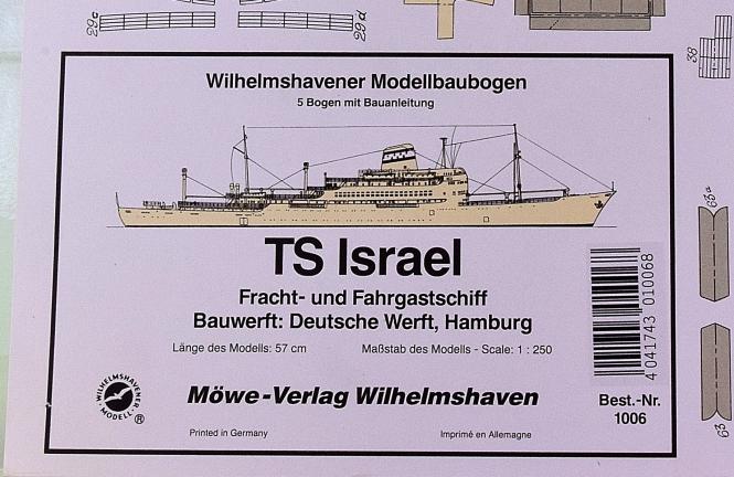 WHV Modellbaubogen 1006 (1:250) – Fahr- und Frachtschiff TS Israel
