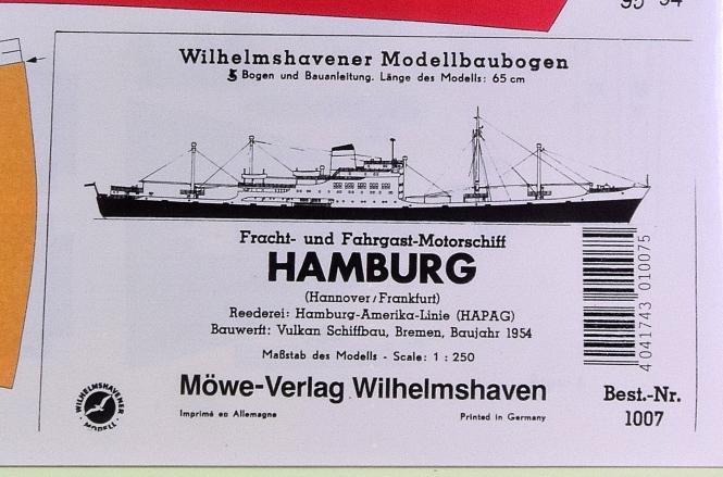 WHV Modellbaubogen 1007 (1:250) – Fahr- und Frachtschiff HAMBURG
