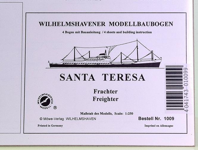 WHV Modellbaubogen 1009 (1:250) – Frachter SANTA TERESA
