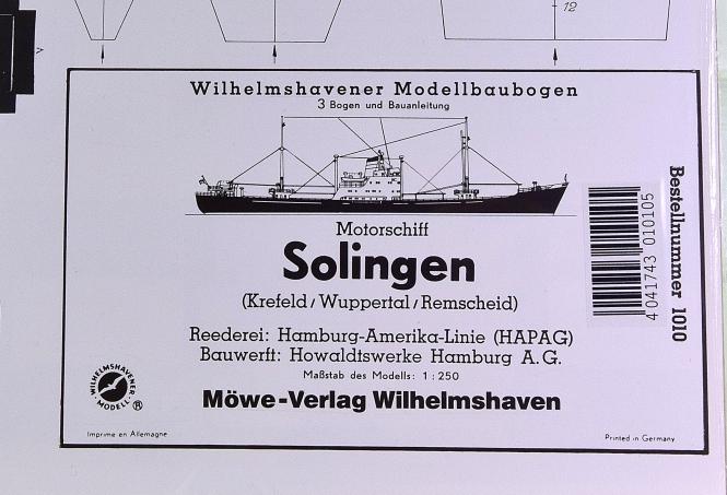 WHV Modellbaubogen 1010 (1:250) – Motorschiff Solingen