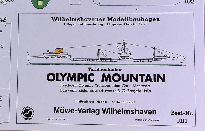 WHV Modellbaubogen 1011 (1:250) – Turbinentanker Olympic Mountain