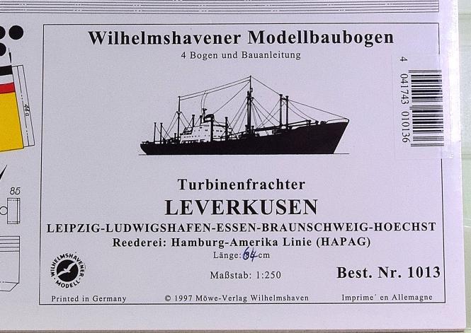 WHV Modellbaubogen 1013 (1:250) – Turbinenfrachter LEVERKUSEN