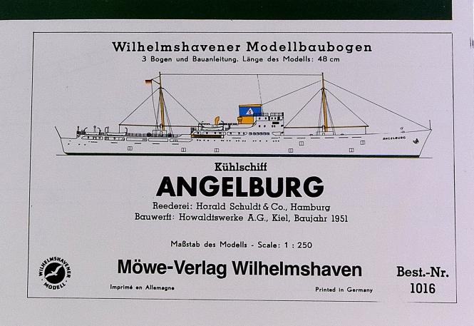 WHV Modellbaubogen 1016 (1:250) – Kühlschiff ANGELBURG