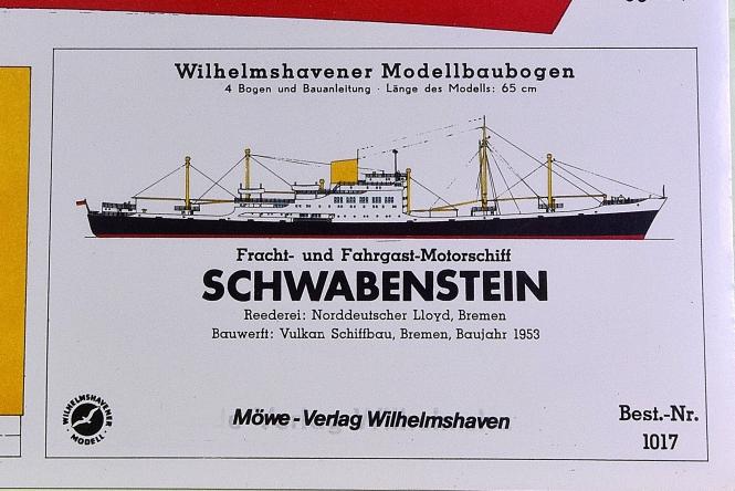 WHV Modellbaubogen 1017 (1:250) – Motorschiff SCHWABENSTEIN