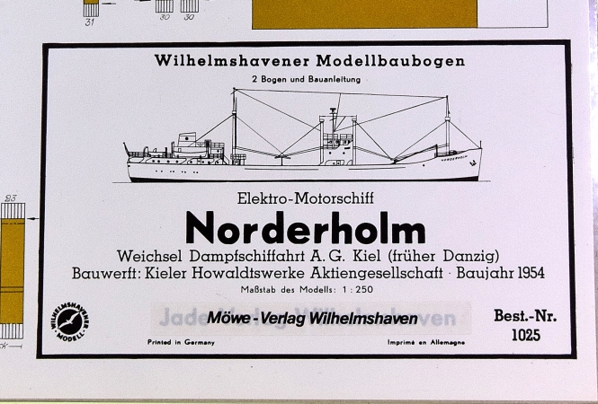 WHV Modellbaubogen 1025 (1:250) – Elektro-Motorschiff Norderholm