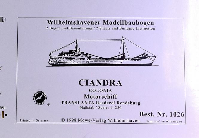 WHV Modellbaubogen 1026 (1:250) – Motorschiff CIANDRA