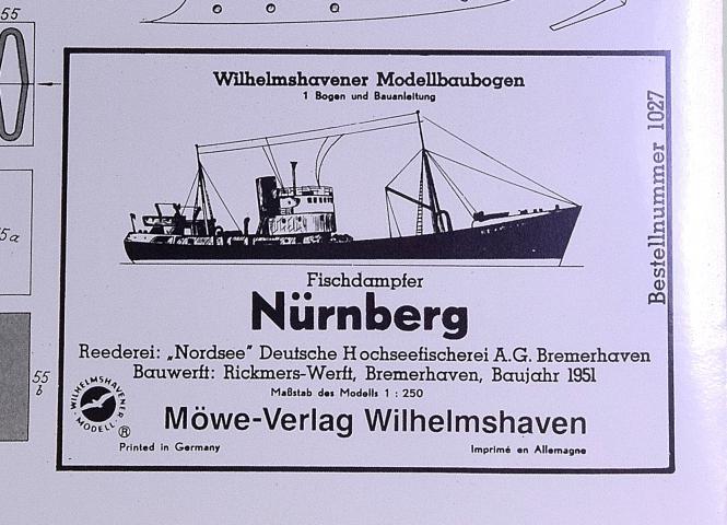 WHV Modellbaubogen 1027 (1:250) – Fischdampfer Nürnberg