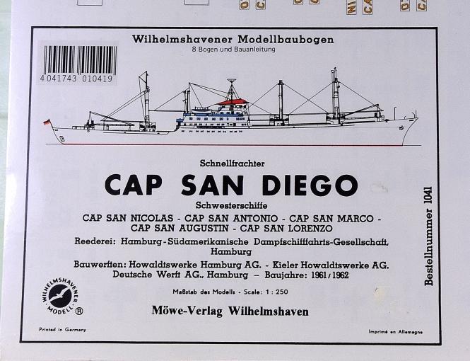 WHV Modellbaubogen 1041 (1:250) – Schnellfrachter CAP SAN DIEGO