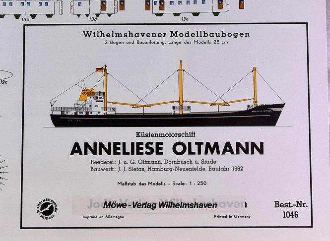 WHV Modellbaubogen 1046 (1:250) – Küstenmotorschiff ANNELIESE OLTMANN