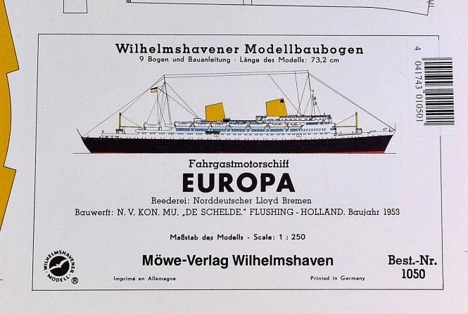 WHV Modellbaubogen 1050 (1:250) – Fahrgastmotorschiff EUROPA (1953)