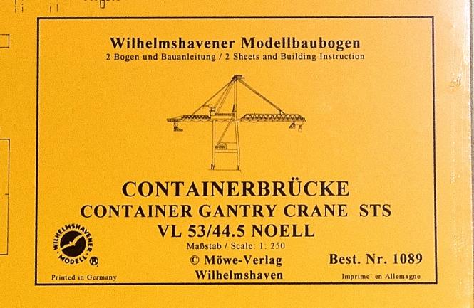 WHV Modellbaubogen 1089 (1:250) – Containerbrücke VL 53/44.5 Noell