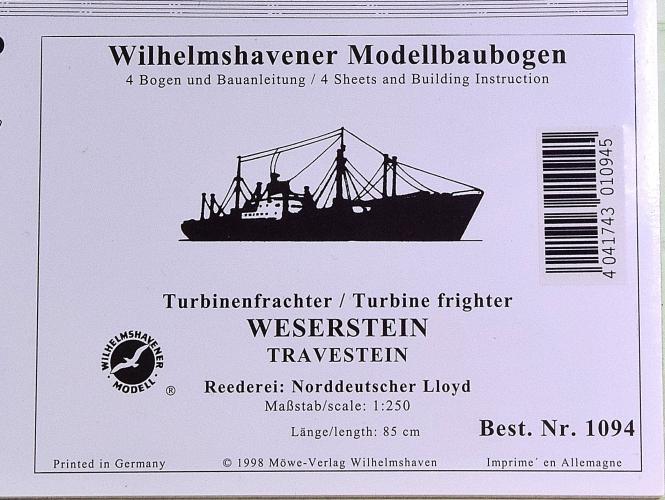 WHV Modellbaubogen 1094 (1:250) – Turbinenfrachter WESERSTEIN