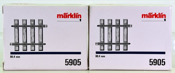 Märklin 5905 (Spur 1) – 2 x gerades Trenngleis, Länge je Gleis 80,4 mm