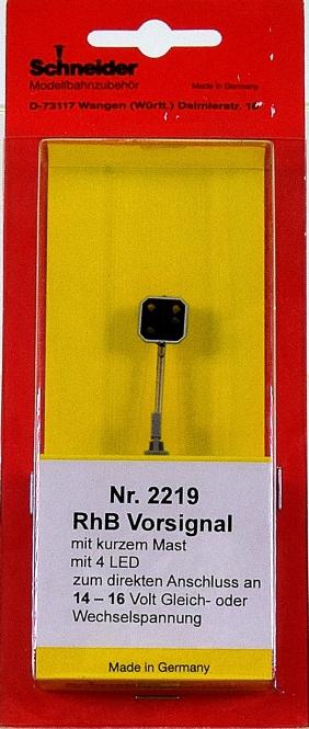 Schneider 2219 - Vorsignal mit kurzem Mast der RhB, Höhe 50 mm, 4 LEDs