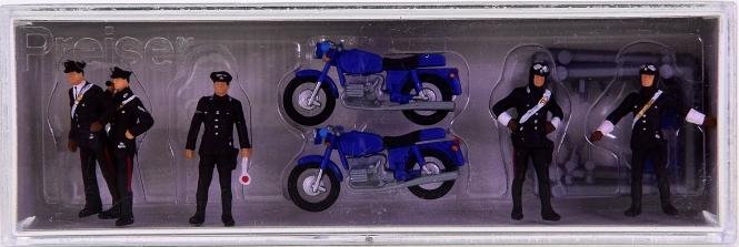 Preiser 10175 - Carabinieri, 5 Figuren und 2 Motorräder