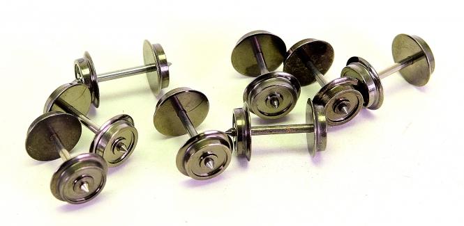 H0, 8 Stück 3-Leiter/Wechselstrom Radsatz 11,0 mm x 24,75 mm, hell,