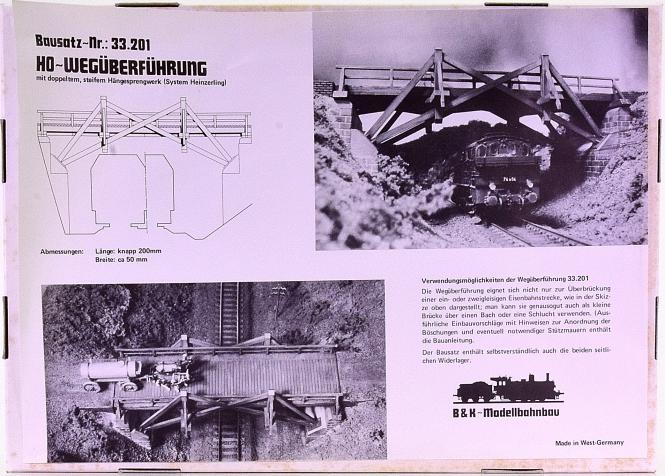 B&K 33.201 (H0) – Bausatz Wegüberführung