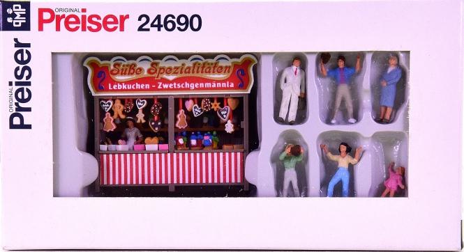 Preiser 24690 - Kirmesbude Lebkuchen, mit 7 Figuren
