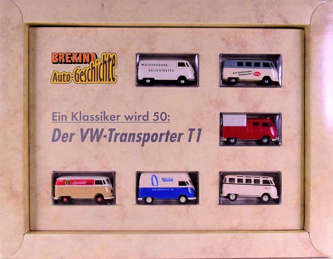 Brekina 90241 (1:87) – 6er-Set 50 Jahre VW-Transporter mit Begleitheft