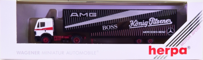 Herpa 826023 (1:87) – Mercedes-Benz Renntransportsattelzug -AMG / Boss / König Pilsener-