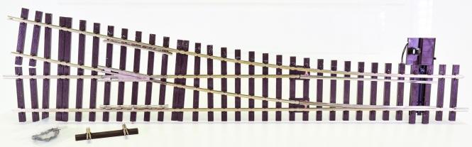 Lenz 45042 (Spur 0) – Weiche rechts 11,25° mit Weichenstellhebel mit elektr. Antrieb, digital (DCC)