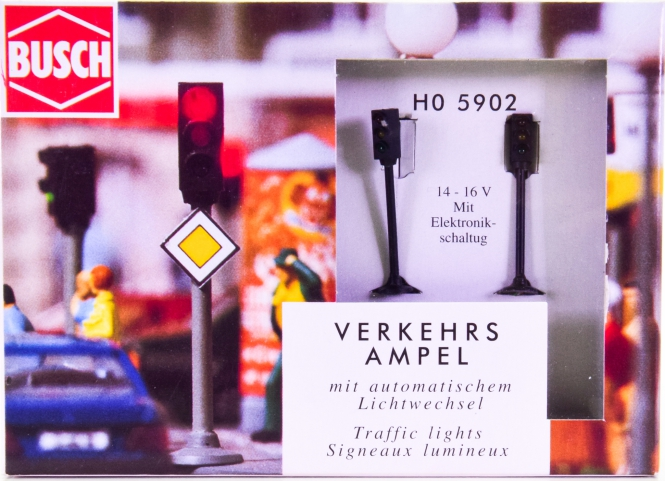 Busch 5902 (H0) – Verkehrs-Ampel LED mit automatischem Lichtwechsel