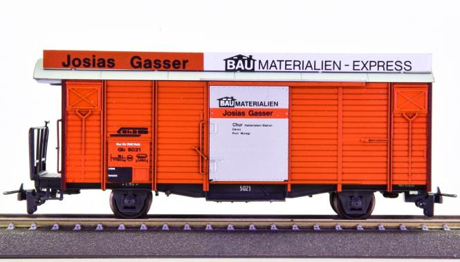 Bemo 2266 121 (H0m) – Gedeckter Güterwagen Gb -Josias Gasser Baumaterial- der RhB