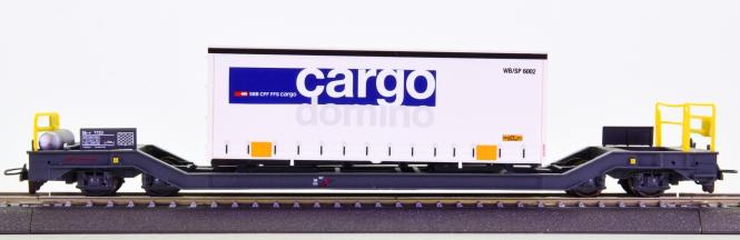 Bemo 2289 128 (H0m) – Containerwagen Sb-v -Cargo Domino- der RhB