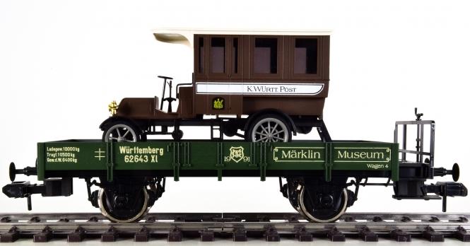 Märklin 85804 (Spur 1) – Niederbord-Wagen Xl der K.W.St.E., mit Oldtimer-Postbus