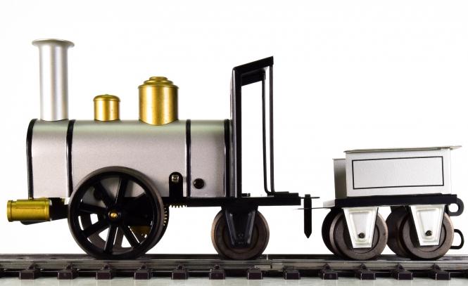 Märklin 11112 (Spur 1) – Dampflok -Storchenbein- mit Uhrwerkantrieb und Tender, Metall