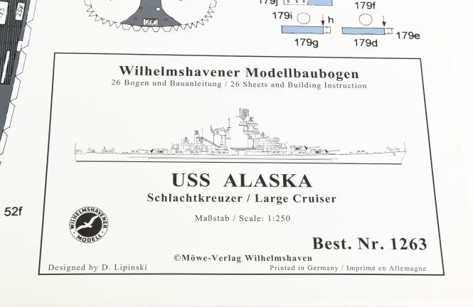 WHV Modellbaubogen 1263 (1:250) – USS Alaska Schlachtkreuzer