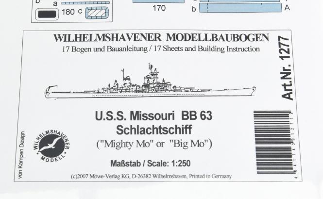 WHV Modellbaubogen 1277 (1:250) - U.S.S. Missouri BB63 Schlachtschiff