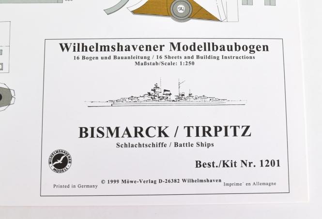 WHV Modellbaubogen 1201 (1:250) - Bismarck / Tirpitz Schlachtschiff