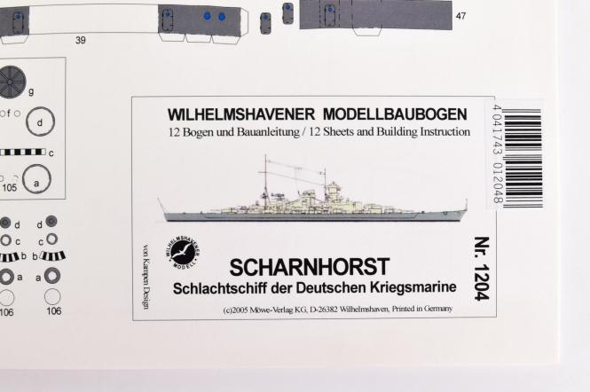 WHV Modellbaubogen 1204 (1:250) - Scharnhorst Schlachtschiff