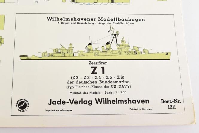 WHV Modellbaubogen 1211 (1:250) - Z1 Zerstörer