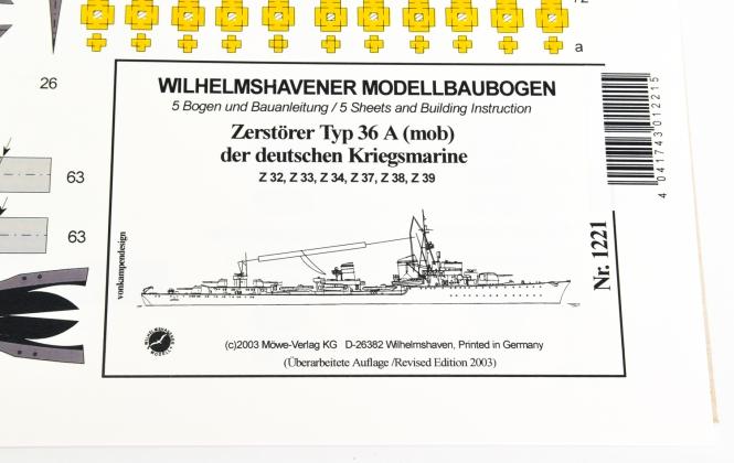 WHV Modellbaubogen 1221 (1:250) - Zerstörer Typ 36 A (mob)