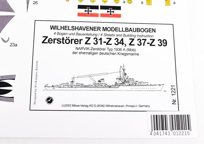 WHV Modellbaubogen 1221 (1:250) - Zerstörer Typ 1936 (Mob)