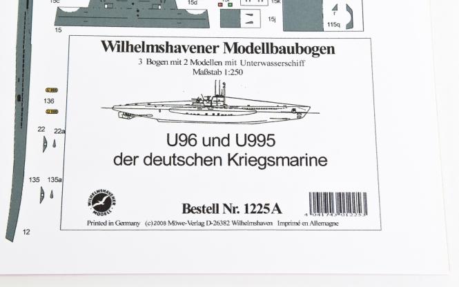 WHV Modellbaubogen 1225A (1:250) - U96 und U995 U-Boote Typ VIIC